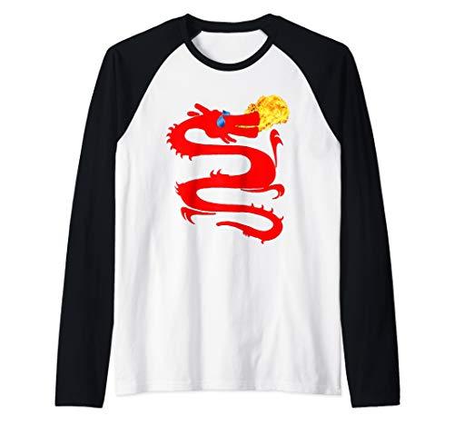 T-shirt Dragon Breathing Fire (Red Fire Breathing Dragon T-Shirt, Cool Dragon Shirt, MbASSP Raglan Baseball Tee)