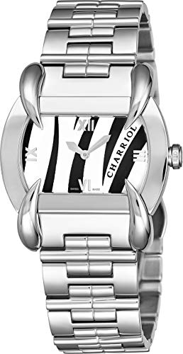 Charriol Kucha Womens Stainless Steel Watch - White Tiger Print Face with Sapphire Crystal and Unique Claw Design Lugs - Swiss Made Classic Ladies Tonneau Watch KUCHTL.110.KTL003