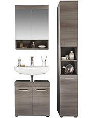 trendteam Smart Living hoge badkamerkast kast runner 3-delige set 103 x 190 x 31 cm Rookzilver decor