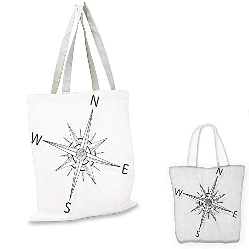 fashion shopping tote bag Compass Black and White Compass for Finding Your Way on the Sea Marine Life Exploration Black White foldable shopping bag