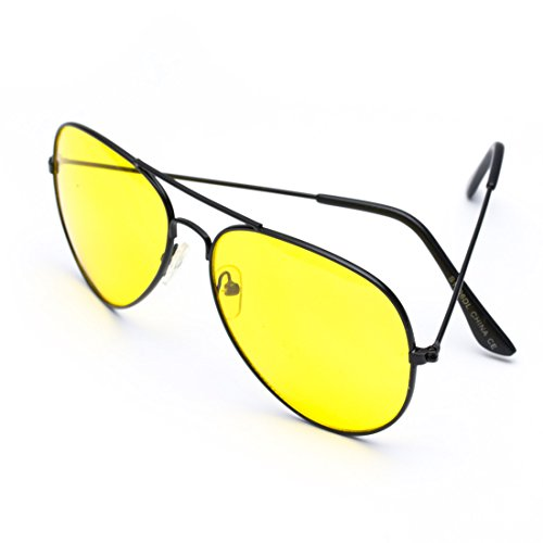 Classic Aviator Style Metal Frame Sunglasses Colored Lens Yellow Lens