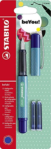STABILO beFab Calligraphy Fountain Pen with 3 Blue Ink Cartridges (Turquoise) (Best Italic Fountain Pen)