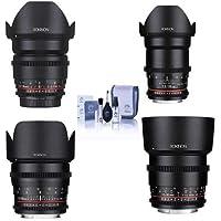 Rokinon Cine DS Lens Kit for Sony E Mount Consists of 16mm T2.2 Lens, 35mm T1.5 Lens, 50mm T1.5 Lens, 85mm T1.5 Lens, Cleaning Kit