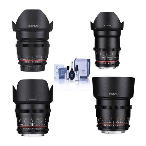 Rokinon Cine DS Lens Kit for Canon EF Mount Consists of 16mm T2.2 Lens, 35mm T1.5 Lens, 50mm T1.5 Lens, 85mm T1.5 Lens, Cleaning Kit (Rokinon 35mm T1 5 Cine Ds Lens)