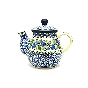 Polish Pottery Teapot – 20 Oz. – Blue Berries