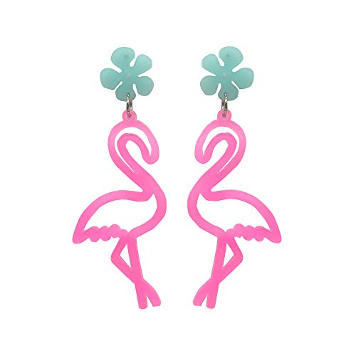 BLING VIOLET Kitsch Costume Fluorescent Funny Dangle Earrings for Women, Girls Holiday Night Costume Jewelry, titanum Post (Juicy Pink Happy Flamingo) (Juicy Earrings Jewelry)