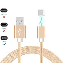 ONX3® (Gold) Magnetic Micro USB Nylon Braided Fast Rapid Charging & Data Syc Transfer Cable with LED light Indicator for Cubot S308