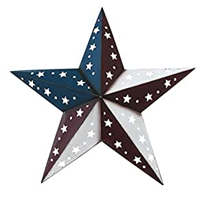 """Patriotic Barn Star - 23.5"""" X 23.5"""" X 4"""" - Red White and Blue Dimensional Barn Star Patterned with Star and Circle Cutouts"""