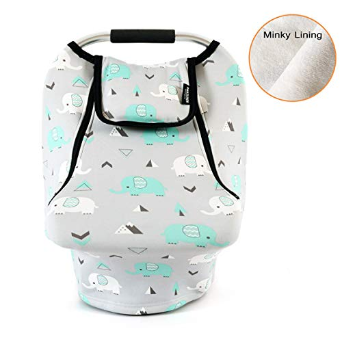 Baby Cover Cozy - Stretchy Baby Car Seat Covers for Boys Girls, Infant Car Canopy Spring Autumn Winter,Snug Warm Breathable Windproof, Adjustable Peep Window,Insect Free,Universal Fit,Baby Elephant