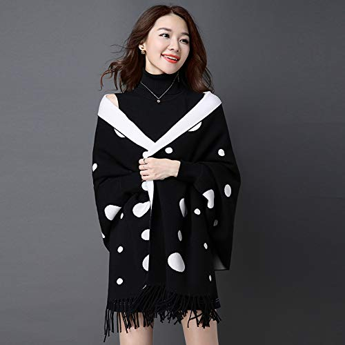 Blake JINGB Home Shawl Female Autumn and Winter Scarf Dualuse Warm with Sleeves DoubleSided can wear Tassel Cloak Cloak Coat (color   Blake)