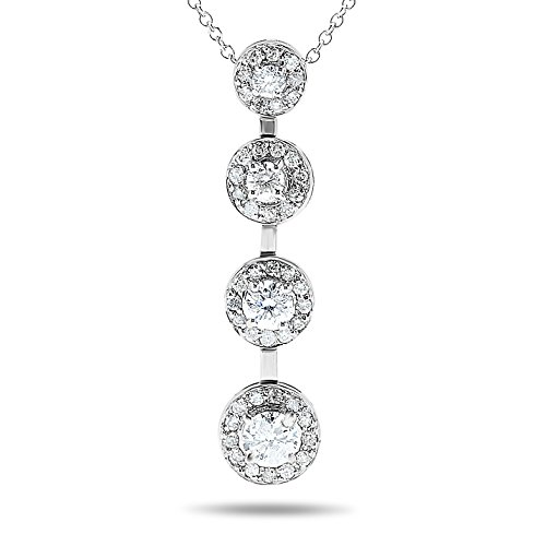 3/4 Carat, 14k White Gold Diamond Halo Journey Pendant Necklace