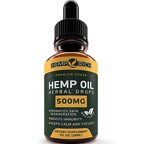 Cheap Full Spectrum Hemp Oil for Pain, Anxiety & Stress Relief – 500mg of Pure Hemp Extract – Grown & Made in USA – Anti-Inflammatory & Joint Support – Helps with Sleep, Mood, Skin & Hair – 1 Fl oz (30ml)
