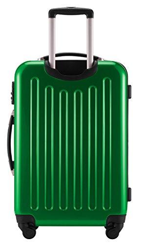 HAUPTSTADTKOFFER® 3er Hartschalen Kofferset · Handgepäck 42 Liter + Koffer 74 Liter + Koffer 119 Liter · Hochglanz · METALLIC GRÜN + Kofferanhänger