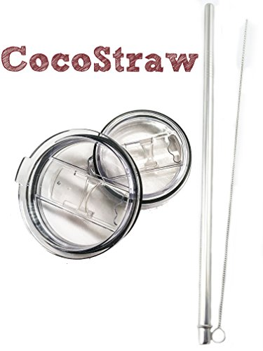 CocoStraw 30oz Straw Lid + Stainless Steel Straw Replacement for Yeti RTIC Polar Drifter Big Boss Sic Tumbler Rambler Cups with Cleaning Brush NO SPILL