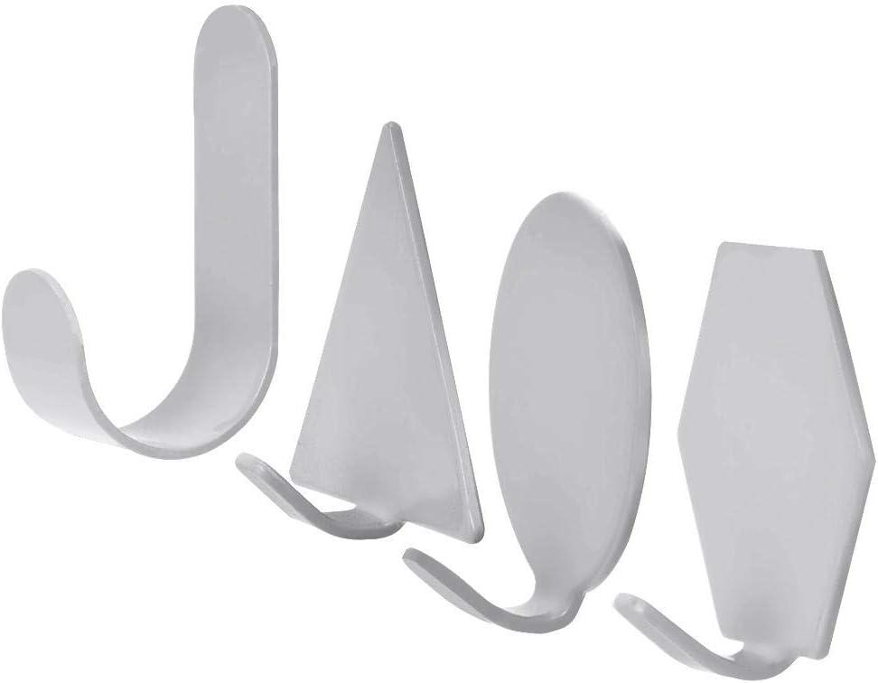 TOPINCN Ganchos de pared, 4 unidades, estilo nórdico, parte trasera adhesiva, hierro forjado, forma geométrica resistente, colgador de pared para llaves, abrigos, sombreros, toallas de baño, cocina