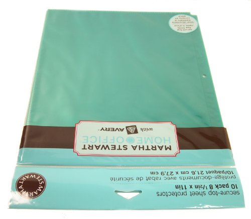 (Martha Stewart Home Office with Avery Secure-Top Sheet Protectors, 2 Pockets, Green, 8-1/2