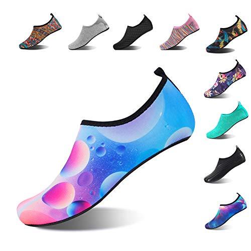 HMIYA Aqua Socks Beach Water Shoes Barefoot Yoga Socks Quick-Dry Surf Swim Shoes for Women Men (Bubble, 44/45EU)