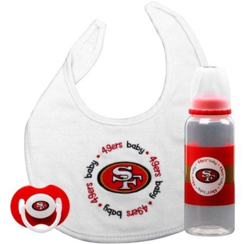 Bottle Pacifier Bib (San Francisco 49ers Infant 3-piece Pacifier, Bib & Bottle Gift Set)