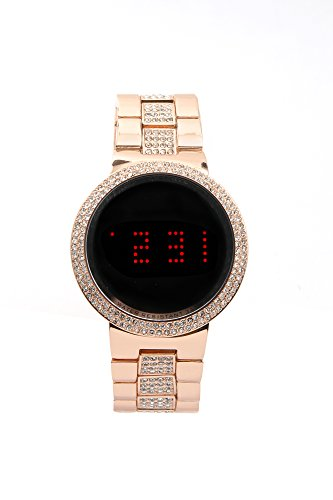 Iced Look Bling Unisex -Metal Band Smart Touch Screen LED Watch -Rose Gold