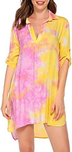 Womens Beach Dresses Bathing Suit Sundress Swimsuit Beach Bikini Cover Ups Summer T Shirt Dress with Split