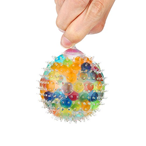 Balls Squeezable (Mikilon Stress Reliever Ball, Spongy Rainbow Ball Toys Squeezable Stress Squishy Toy Stress Relief Ball for Fun (Rainbow Ball))