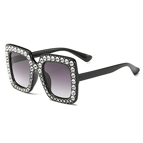 FEIRDIO Oversized Crystal Sunglasses For Women Sparkling Square Thick Sunglasses FD 2264(Black - Crystal Oversized