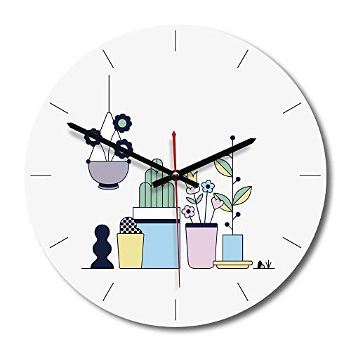FlorLife Vintage Wall Clock 12 Inch White Round Battery Operated Quartz Clock Giant Silent Non-Ticking Quartz Decorative Round Clock, Battery Operated, Easy to Read for Home, Office, School by FlorLife