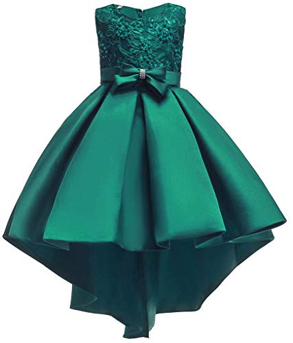 Shiny Toddler Big Girls Pleated Beaded High-Low Applique Embroidered Flower Girl Pageant Dance Party Dress,Green,7-8 -