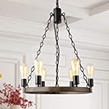 LALUZ 6-Light Farmhouse Wagon Wheel Chandelier for Living Room, Faux Wood Kitchen Island Lighting for Dining Room