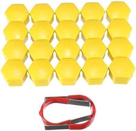 20ピース/セット19ミリメートル黄色ホイールナットボルトカバーキャップ用フォード/フォーカス/モンデオ/久我cマックスフィエスタ