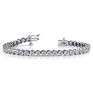 18K White Gold Diamond Round Brilliant Bezel Set Tennis Bracelet (2.82ctw.) - Size 9.75