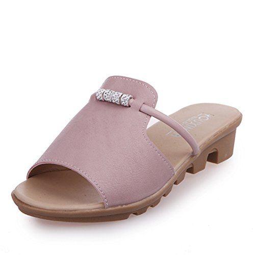 Dames Outdoor Leer Zomer Strand Leer Casual Slippers 1090 Roze