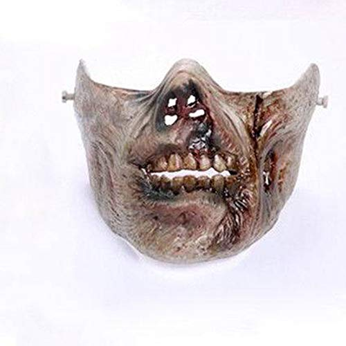 Zombie Skull Mask Half Face Protection Gear for Paintball Airsoft Evil Mischief Cosplay Prank Hoax Trick (B) -