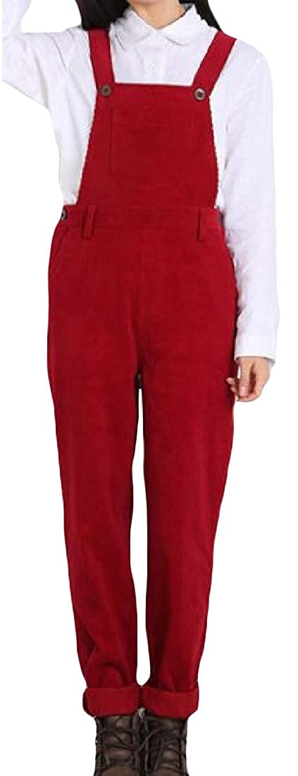 Pivaconis Womens Casual Suspender Corduroy Bib Jumpsuits Rompers Overalls