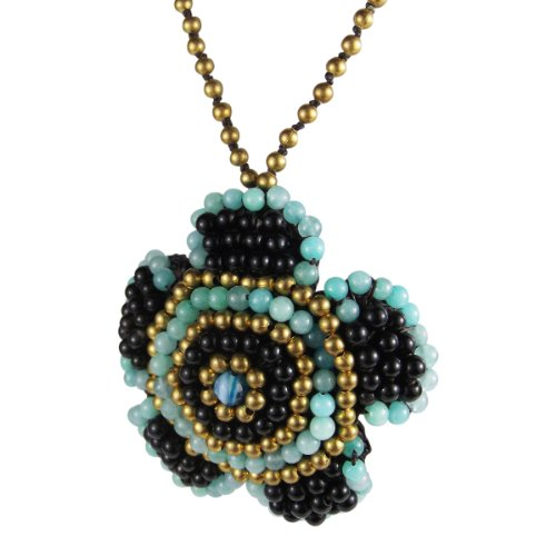 AeraVida Exotic Blue Daisy Embroidered Mix Stones Necklace