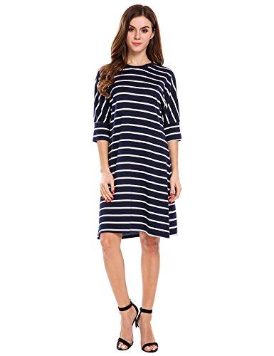 Block Casual Women's Blue amp;white Crew Loose 4 Sleeve Dress Neck Beyove Stripes 3 Color Sg66Cn