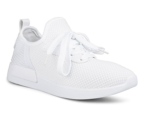 Twisted Womens Dimitria Lightweight Mesh Athletic Fashion Sneaker - DIMITRIA01 White/White, Size 7.5 White Athletic Sneakers