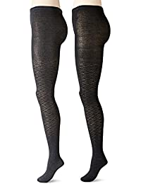 Women's Pointelle Argyle Patterned Knit Tights (Pack of 2)