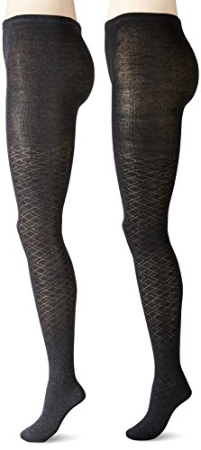 Anne Klein Women's Pointelle Argyle Patterned Knit Tights, Black/Charcoal Heather, Small (Pack of (Pointelle Tights)