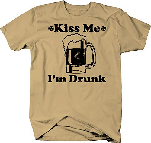 Kiss Me I'm Drunk Irish St Pat Beer Stein Bar Color Tshirt - Small Tan - Im Irish Stein