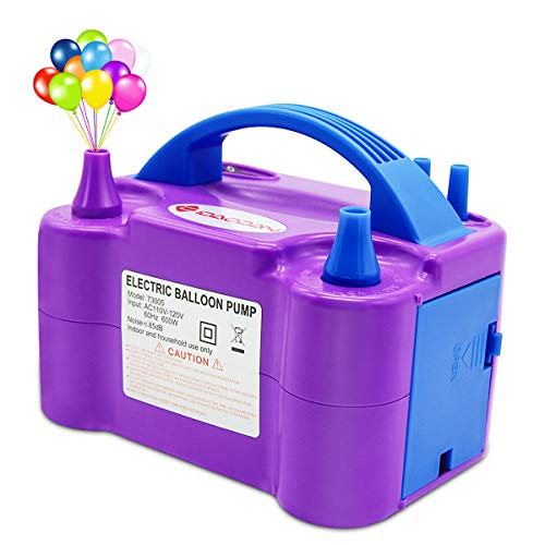 Price comparison product image IDAODAN Electric Air Balloon Pump, Portable Dual Nozzle Electric Balloon Inflator/Blower for Party Decoration - 110V 600W (Purple)