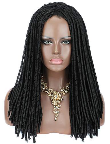 Kalyss 100% Hand Braided Dreadlocks Braids Hair Wigs for Black Women Lightweight Long Rolls Twist Braided Premium Japanese Synthetic Wigs