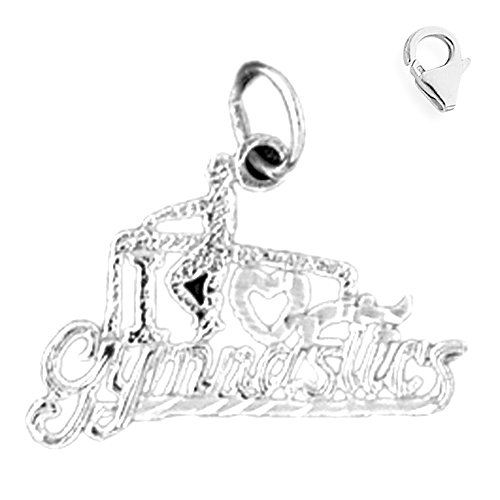 Jewels Obsession I Love Gymnastics Charm | 14K White Gold I Love Gymnastics Charm Pendant - 18mm
