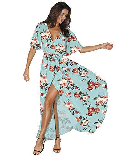 Azalosie Women Wrap Maxi Dress Floral Short Sleeve Flowy Slit Tie Waist Summer Beach Party Wedding (Sleeve Petite Short Wrap)