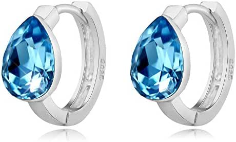 T400 Jewelers 925 Sterling Silver Water Drop Swarovski Elements Crystal Blue Hoop Earrings Kids Love Gift