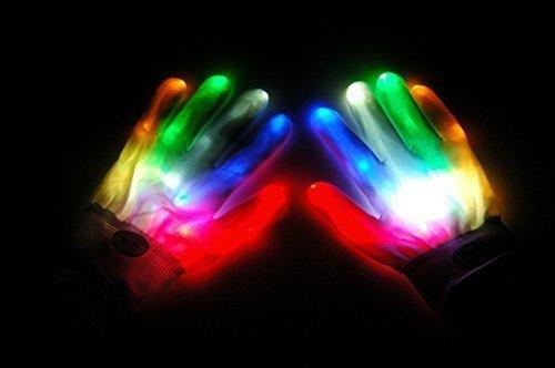 Led Gloves Light Rave Flashing Finger Lighting Up Party Glow 6 Mode Halloween Black Dance Electro New Fashion Glove (White 6 Light Flashing Modes Fiber Optic Gloves) By C&H -