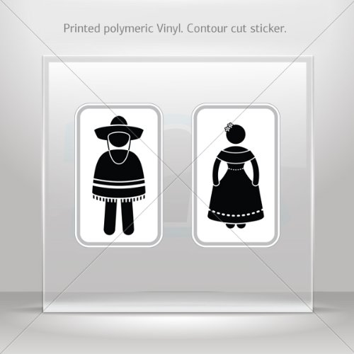 Womens Public Bathroom Toilet Video: Decals Decal Wc Restrooms Sign Mexico Man Woman Toilet
