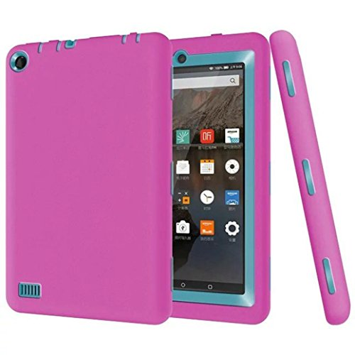 Price comparison product image Coohole Kid Shockproof Protective Cover Case for Amazon Kindle Fire 7 2015 Tablet (hot pink)