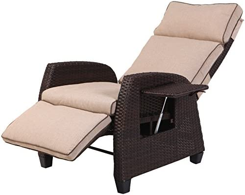 Grand patio Indoor Outdoor Aluminum Recliner with All-Weather Wicker, Beige Cushion and Integrated Side Table, Mocha Brown
