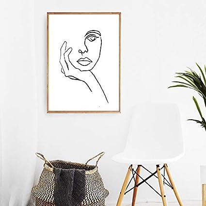 liwendi Pensador Imprimir Picasso Line Pintura Cartel Moderno Cara Minimalista Arte Sketch Negro Blanco Inicio Art Deco De Pared Pintura 42 * 60 Cm